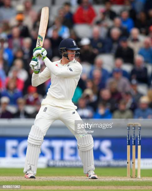 England batsman Keaton Jennings edges a ball behind to be caught for 18 runs during day three of the 4th Investec Test Match between England and...