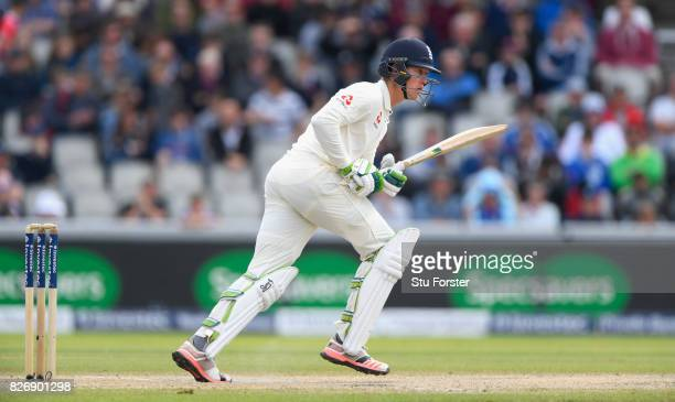 England batsman Keaton Jennings picks up a run during day three of the 4th Investec Test Match between England and South Africa at Old Trafford on...