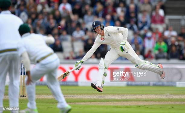 England batsman Keaton Jennings survives a run out attempt during day three of the 4th Investec Test Match between England and South Africa at Old...