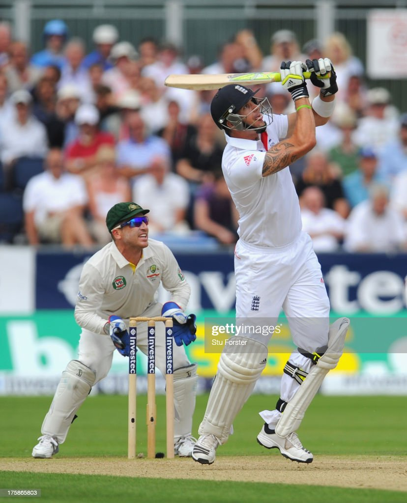 England batsman <a gi-track='captionPersonalityLinkClicked' href=/galleries/search?phrase=Kevin+Pietersen+-+Cricket+Player&family=editorial&specificpeople=202001 ng-click='$event.stopPropagation()'>Kevin Pietersen</a> hits his first ball he receives watched by keeper <a gi-track='captionPersonalityLinkClicked' href=/galleries/search?phrase=Brad+Haddin&family=editorial&specificpeople=193800 ng-click='$event.stopPropagation()'>Brad Haddin</a> during day one of 4th Investec Ashes Test match between England and Australia at Emirates Durham ICG on August 09, 2013 in Chester-le-Street, England.