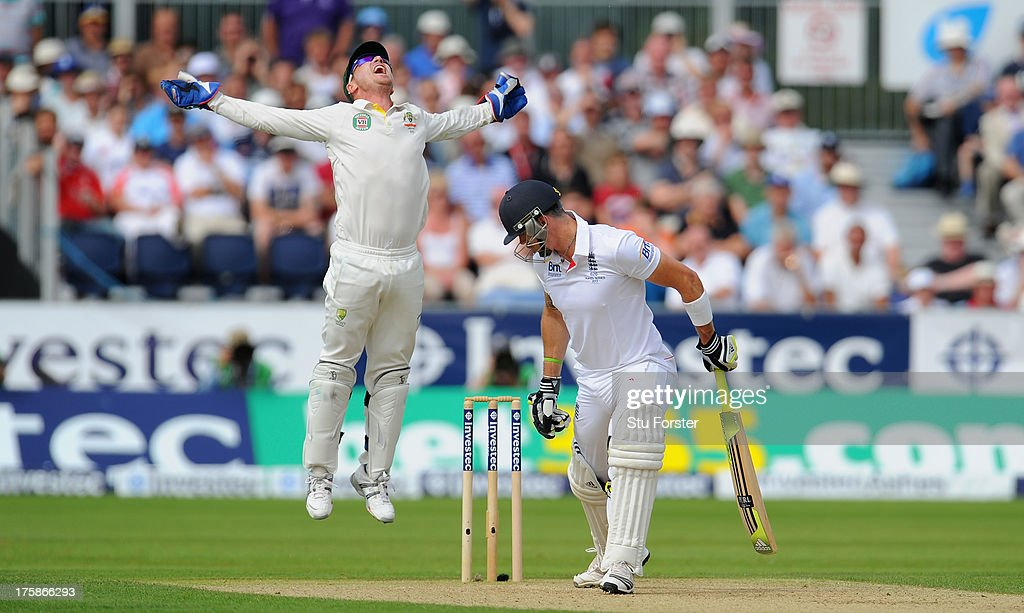 England batsman <a gi-track='captionPersonalityLinkClicked' href=/galleries/search?phrase=Kevin+Pietersen+-+Cricket+Player&family=editorial&specificpeople=202001 ng-click='$event.stopPropagation()'>Kevin Pietersen</a> is caught behind by keeper <a gi-track='captionPersonalityLinkClicked' href=/galleries/search?phrase=Brad+Haddin&family=editorial&specificpeople=193800 ng-click='$event.stopPropagation()'>Brad Haddin</a> during day one of 4th Investec Ashes Test match between England and Australia at Emirates Durham ICG on August 09, 2013 in Chester-le-Street, England.
