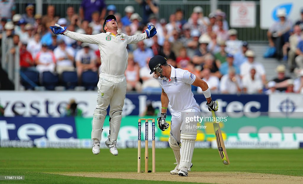 England batsman <a gi-track='captionPersonalityLinkClicked' href=/galleries/search?phrase=Kevin+Pietersen+-+Cricket+Player&family=editorial&specificpeople=202001 ng-click='$event.stopPropagation()'>Kevin Pietersen</a> is caught behind by wicket keeper <a gi-track='captionPersonalityLinkClicked' href=/galleries/search?phrase=Brad+Haddin&family=editorial&specificpeople=193800 ng-click='$event.stopPropagation()'>Brad Haddin</a> during day one of 4th Investec Ashes Test match between England and Australia at Emirates Durham ICG on August 09, 2013 in Chester-le-Street, England.