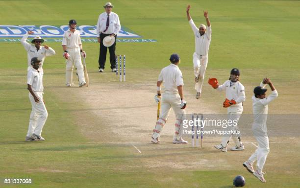 England batsman Kevin Pietersen is given out by umpire Darrell Hair caught behind by India's Rahul Dravid off a delivery from Harbhajan SIngh during...