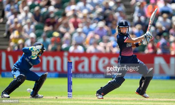 England batsman Lauren Winfield cuts a ball to the boundary during the ICC Women's World Cup 2017 match between England and Sri Lanka at The Cooper...