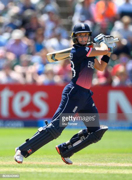 England batsman Lauren Winfield hits out during the ICC Women's World Cup 2017 match between England and Sri Lanka at The Cooper Associates County...