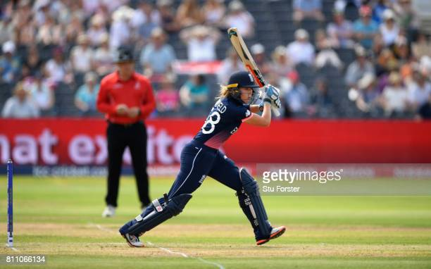 England batsman Lauren Winfield hits out during the ICC Women's World Cup 2017 match between England and Australia at The Brightside Ground on July 9...