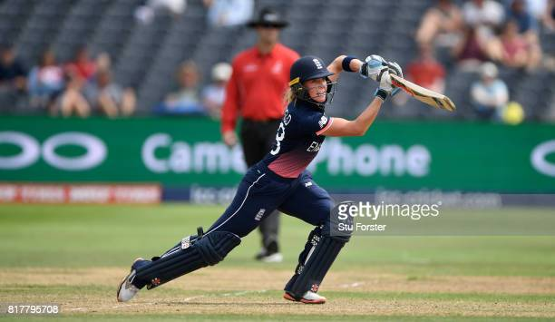 England batsman Lauren Winfield hits out during the ICC Women's World Cup 2017 SemiFinal at The County Ground on July 18 2017 in Bristol England