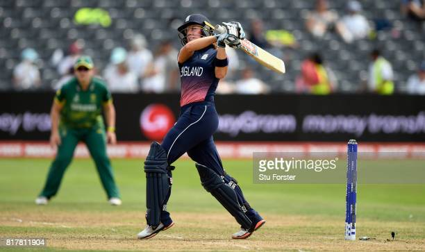 England batsman Lauren Winfield hits out during the ICC Women's World Cup 2017 SemiFinal between England and South Africa at The County Ground on...