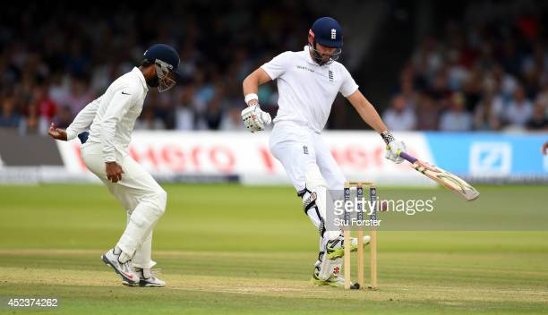England batsman Liam Plunkett kicks the ball away from hitting his stumps during day three of 2nd Investec Test match between England and India at...