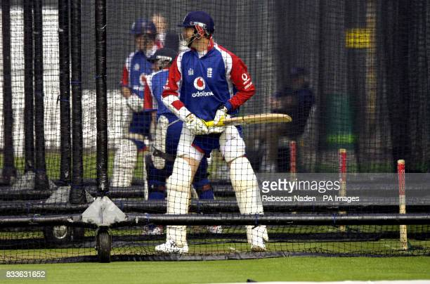 England batsman Marcus Trescothick during a nets session at Lords St John's Wood London