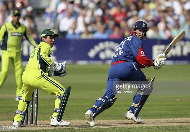 England batsman Marcus Trescothick hits a boundary watched by Pakistan wicketkeeper Kamran Akmal during the Natwest Twenty20 International between...
