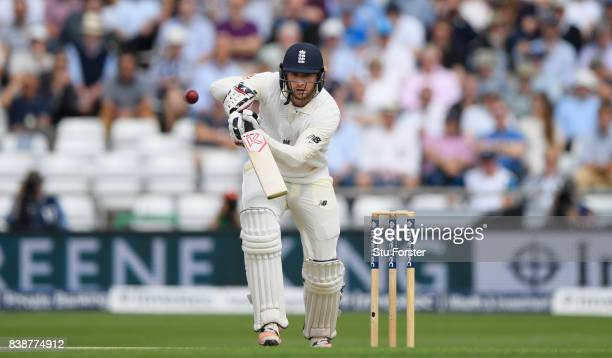 England batsman Mark Stoneman drives during day one of the 2nd Investec Test match between England and West Indies at Headingley on August 25 2017 in...