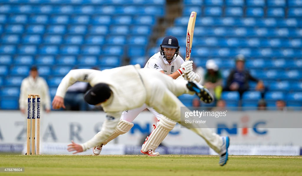 England batsman Mark Wood hits out past a diving BJ Watling during day three of the 2nd Investec test match between England and New Zealand at...