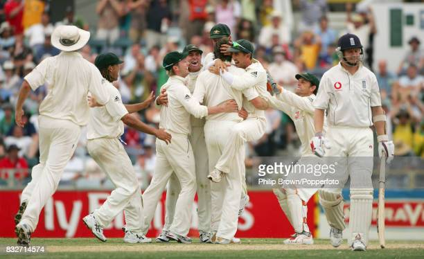 England batsman Matthew Hoggard walks off after being bowled for 0 by Australia's Glenn McGrath on day four of the 3rd Test match between Australia...
