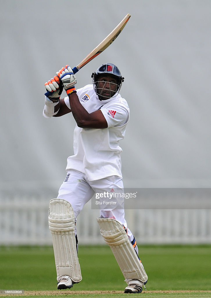 England batsman Michael Carberry hits to the boundary during day two of the tour match between England Lions and New Zealand at Grace Road on May 10, 2013 in Leicester, England.