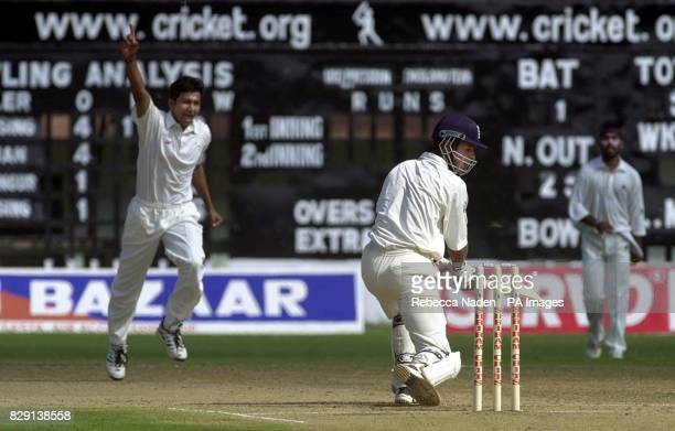 England batsman Michael Vaughan is caught in the slips off the bowling of Sanjay Bangar for 22 runs during the first day of the three day tour match...