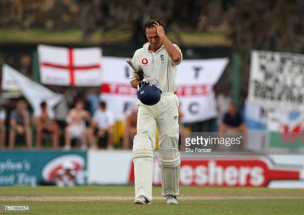 England batsman Michael Vaughan leaves the field after being dismissed by Sri Lankan bowler Chanaka Welegedara during day 4 of the 3rd and final Test...