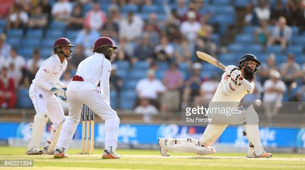 England batsman Moeen Ali hits out during day four of the 2nd Investec Test Match between England and West Indies at Headingley on August 28 2017 in...