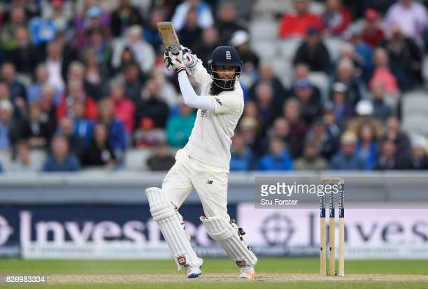England batsman Moeen Ali hits out during day three of the 4th Investec Test Match between England and South Africa at Old Trafford on August 6 2017...