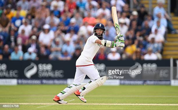 England batsman Moeen Ali hits out during day two of the 1st Investec Ashes Test match between England and Australia at SWALEC Stadium on July 9 2015...