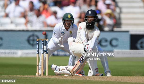 England batsman Moeen Ali is caught by Kuhn for 27 runs during day four of the 2nd Investec Test match between England and South Africa at Trent...