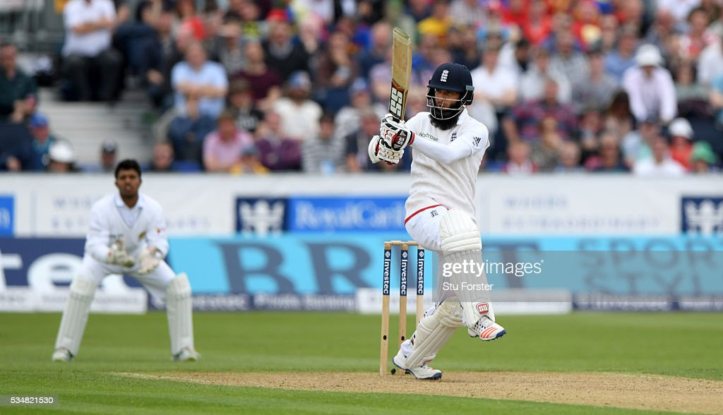 England batsman <a gi-track='captionPersonalityLinkClicked' href=/galleries/search?phrase=Moeen+Ali&family=editorial&specificpeople=571813 ng-click='$event.stopPropagation()'>Moeen Ali</a> picks up some runs during day two of the 2nd Investec Test match between England and Sri Lanka at Emirates Durham ICG on May 28, 2016 in Chester-le-Street, United Kingdom.