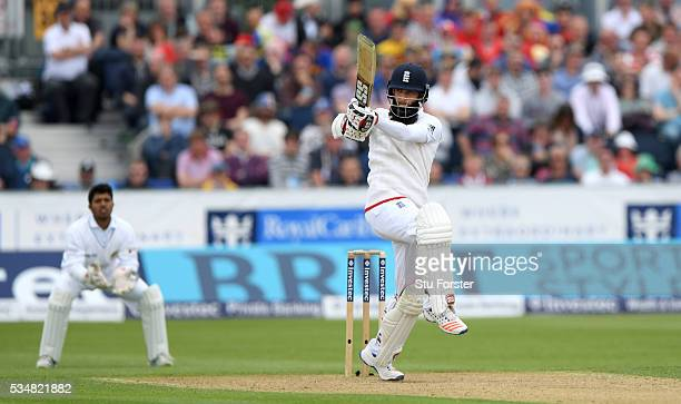 England batsman Moeen Ali picks up some runs during day two of the 2nd Investec Test match between England and Sri Lanka at Emirates Durham ICG on...