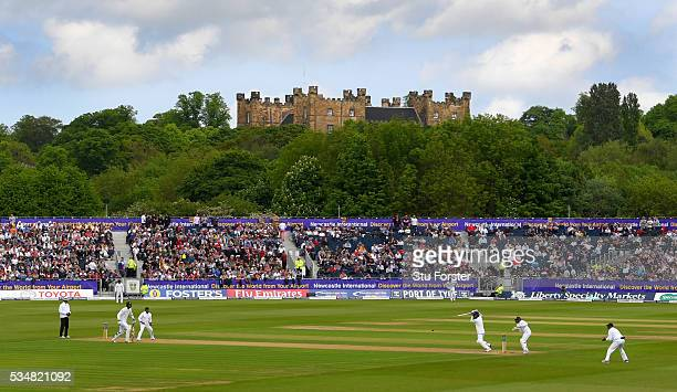 England batsman Moeen Ali picks up some runs in the shadow of Lumley Castle during his stand with Steven Finn during day two of the 2nd Investec Test...