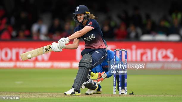 England batsman Natalie Sciver hits out during the ICC Women's World Cup 2017 Final between England and India at Lord's Cricket Ground on July 23...