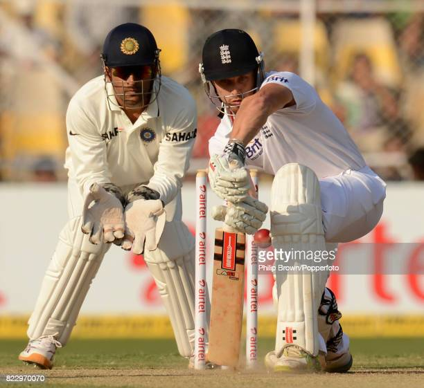England batsman Nick Compton is about to lose his wicket for the first time in Test cricket on his debut for England during the 1st Test match...