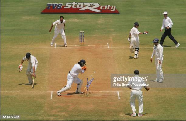 England batsman Owais Shah is run out by India's Mahendra Singh Dhoni during the 3rd Test match between India and England at the Wankhede Stadium...