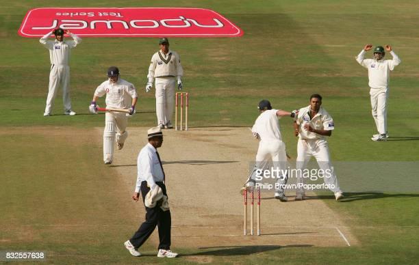 England batsman Paul Collingwood and Pakistan bowler Danish Kaneria collide during the 3rd Test match between England and Pakistan at Headingley...