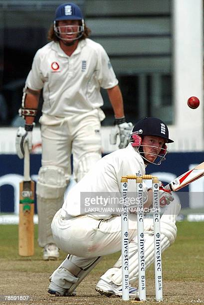 England batsman Paul Collingwood avoids a bouncer during the third day of the third and final Test match between Sri Lanka and England at The Galle...
