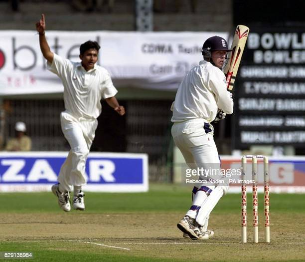 England batsman Richard Dawson is caught behind off the bowling of Sanjay Bangar during the second day of the three day tour match against a Board...