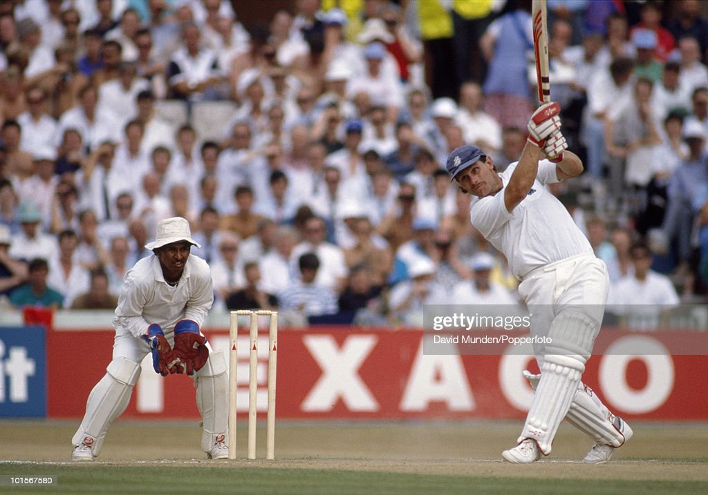 England batsman Robin Smith batting during his innings of 121 not out on the second day of the 2nd Test match between England and India at Old Trafford in Manchester, 10th August 1990. The Indian wicketkeeper is Kiran More. The match ended in a draw.