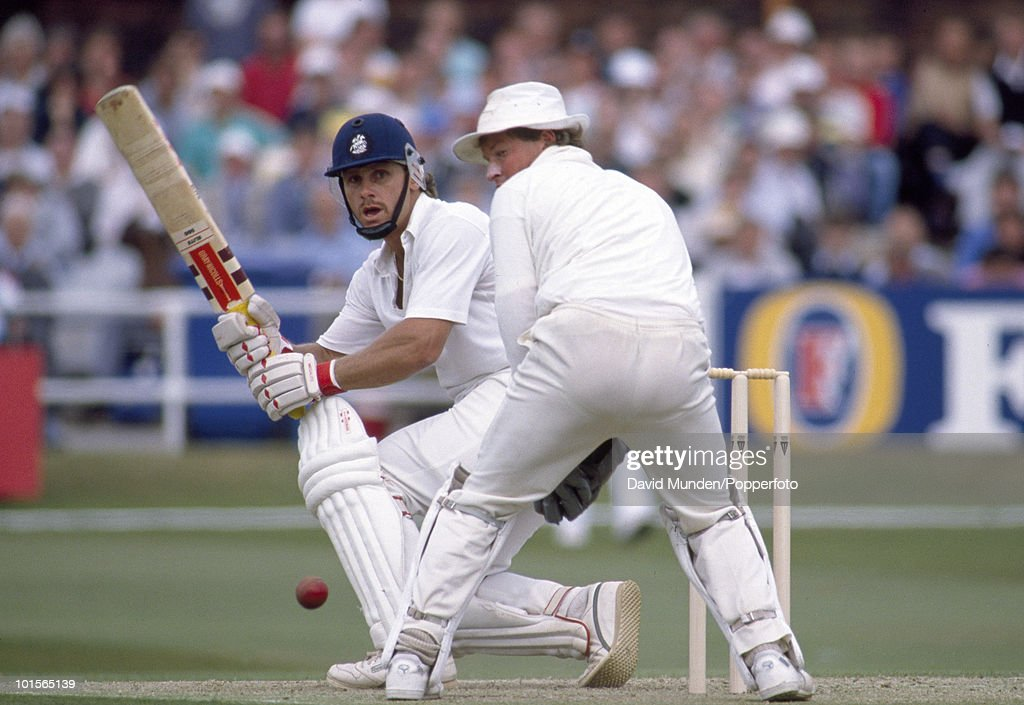 England batsman Robin Smith sweeps the ball past New Zealand wicketkeeper Ian Smith during his innings of 128 in the 1st Texaco Trophy One Day International match between England and New Zealand at Headingley in Leeds, 23rd May 1990. New Zealand won by 4 wickets.