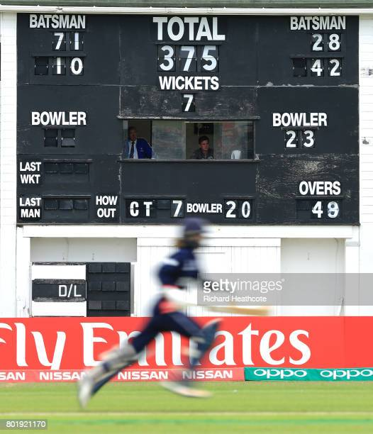 England batsman runs between the wickets in the last over during the Women's ICC World Cup group match between England and Pakistan at Grace Road on...
