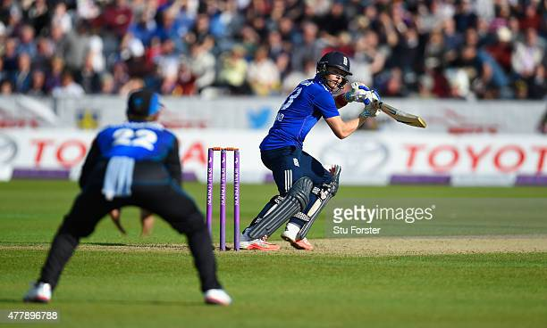 England batsman Sam Billings hits out during the 5th Royal London One day international between England and New Zealand at Emirates Durham ICG on...