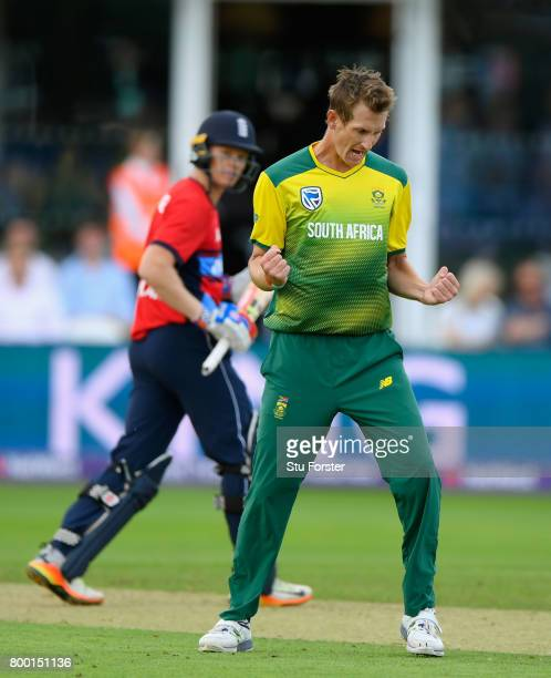 England batsman Sam Billings is dismissed by South Africa bowler Chris Morris during the 2nd NatWest T20 International between England and South...