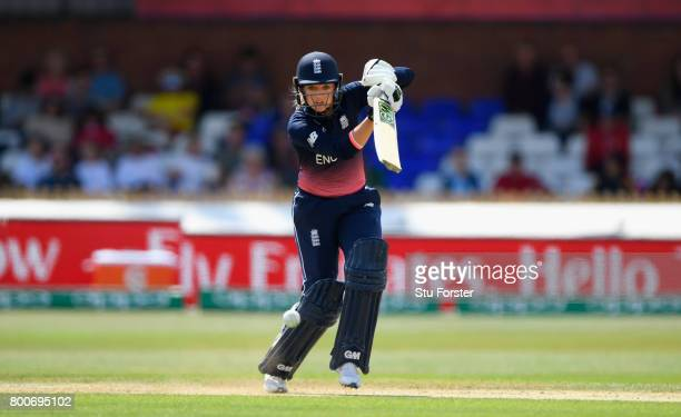England batsman Sarah Taylor hits out during the ICC Women's World Cup 2017 match between England and India at The 3aaa County Ground on June 24 2017...