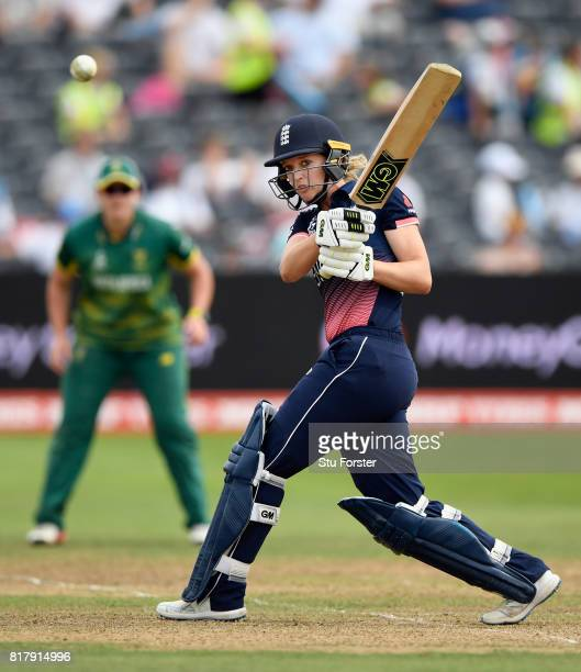 England batsman Sarah Taylor hits out during the ICC Women's World Cup 2017 SemiFinal between England and South Africa at The County Ground on July...