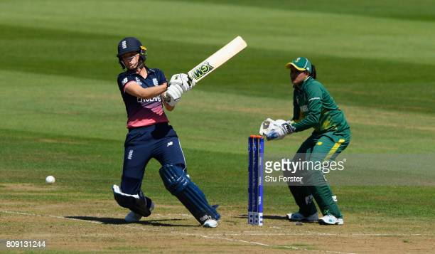England batsman Sarah Taylor hits out watched by wicket keeper Chetty during the ICC Women's World Cup 2017 match between England and South Africa at...