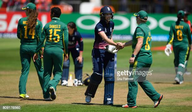 England batsman Sarah Taylor shakes hands with Lizelle Lee after Taylor had been dismissed for 147 runs during the ICC Women's World Cup 2017 match...