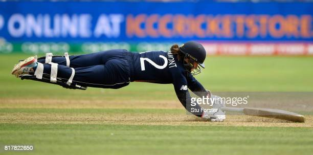 England batsman Tammy Beaumont dives to make her ground during the ICC Women's World Cup 2017 SemiFinal at The County Ground on July 18 2017 in...
