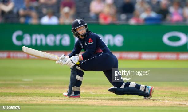 England batsman Tammy Beaumont hits out during the ICC Women's World Cup 2017 match between England and Australia at The Brightside Ground on July 9...