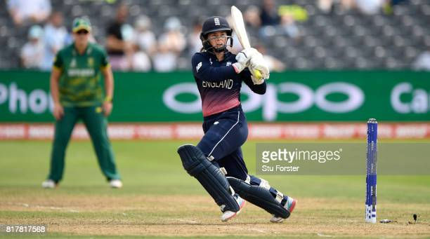 England batsman Tammy Beaumont hits out during the ICC Women's World Cup 2017 SemiFinal at The County Ground on July 18 2017 in Bristol England