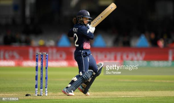 England batsman Tammy Beaumont hits out during the ICC Women's World Cup 2017 Final between England and India at Lord's Cricket Ground on July 23...