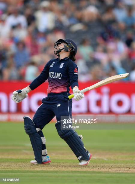 England batsman Tammy Beaumont reacts after being caught for 49 runs during the ICC Women's World Cup 2017 match between England and Australia at The...