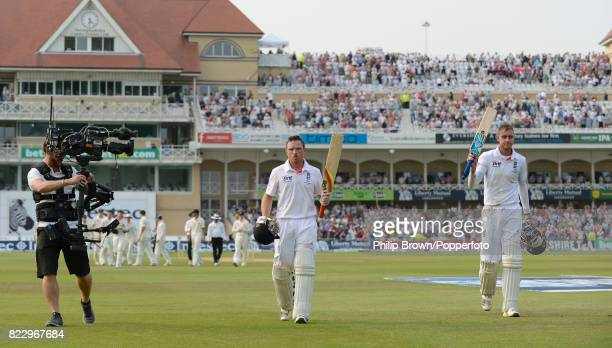 England batsmen Ian Bell and Stuart Broad leave the field at the end of the third day's play during the 1st Test match between England and Australia...