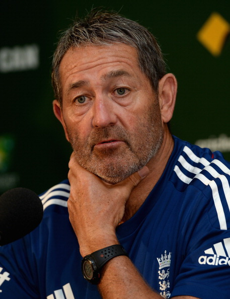 England batting coach Graham Gooch speaks during a press conference at ...